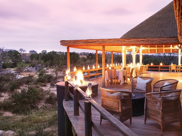 The verandah of Londolozi Founders Camp at Dusk